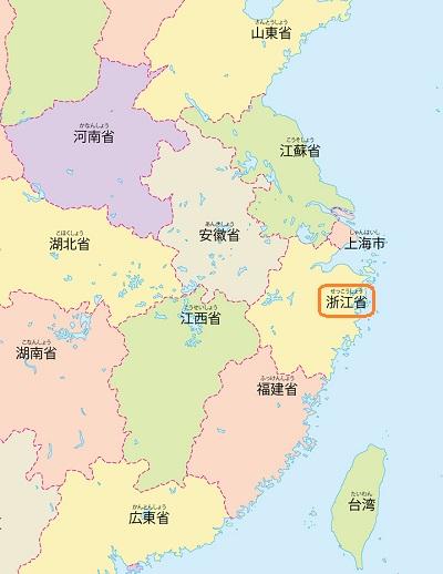 中国浙江省地図